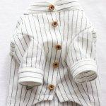 画像13: 綿麻シャンブレーストライプシャツ(ホワイト×ネイビー) (13)