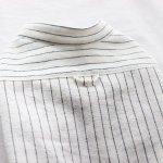 画像15: 綿麻シャンブレーストライプシャツ(ホワイト×ネイビー) (15)