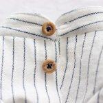 画像14: 綿麻シャンブレーストライプシャツ(ホワイト×ネイビー) (14)