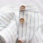 画像14: 綿麻シャンブレーのストライプシャツワンピース(ホワイト×ブルー) (14)