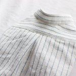 画像15: 綿麻シャンブレーのストライプシャツワンピース(ホワイト×ブルー) (15)